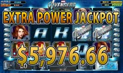 The AvengersでEXTRA POWER JACKPOT賞金5,976.66ドル獲得!