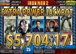Iron Man 2 25 LINESでEXTRA POWER JACKPOT賞金5,704.17ドル獲得!